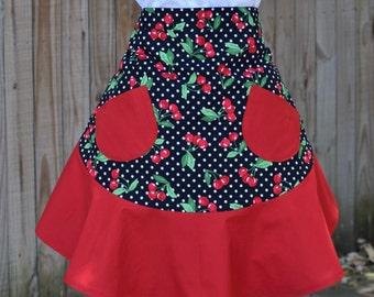 Cherries Jubilee Half Apron with fun flirty skirt