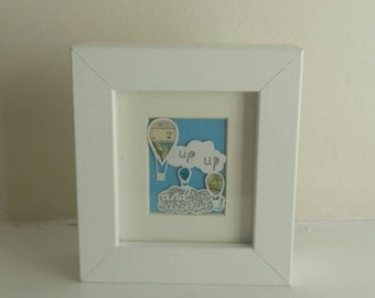 Up up and away - hot air balloon original mini paper cut -