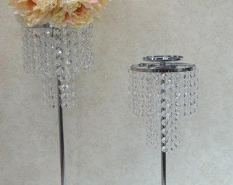 2 Tier Crystal Wedding Centerpiece, Table Centerpiece, Candle Holder, Flower Holder