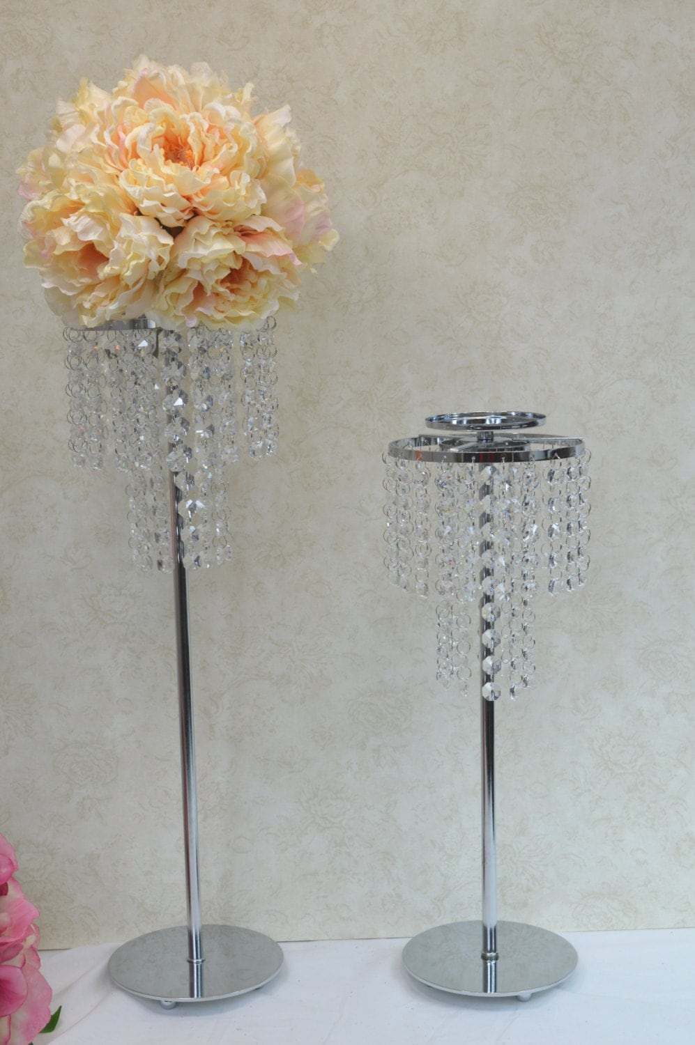 Tier crystal wedding centerpiece table candle