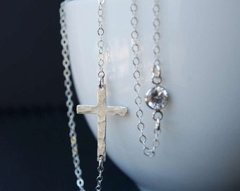 Sideways Cross Necklace in Sterling Silver with CZ, Hammered Sideways Cross and CZ Sterling Silver Necklace