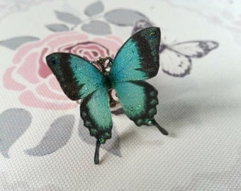 Beautiful Teal 3D Butterfly Ring