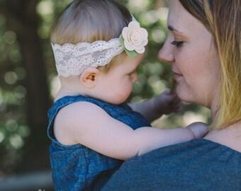 Felt Flower Headband - Lace Headband - Baby Girl Headband, Newborn Headbands,