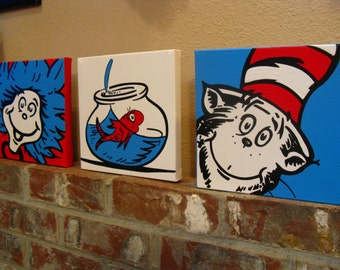 Cat In The Hat Large Set of 3 - Dr. Suess Classroom Bedroom Nursery Playroom Wall Art
