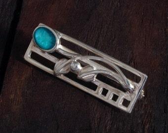 Silver Mackintosh Style Brooch - Aqua Blue