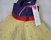 Navy Blue and Yellow Princess Tutu Bag with Rhinestones
