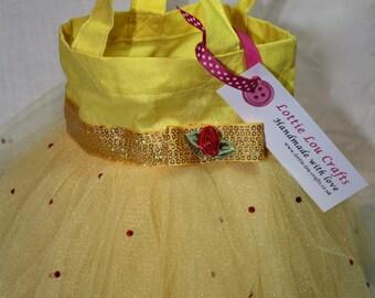 Yellow Princess Tutu Bag with Rhinestones