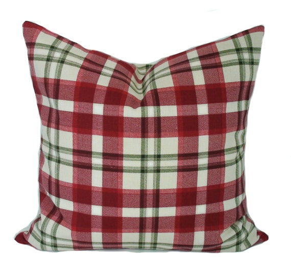 Decorative Plaid Pillows : Plaid pillow cover Red throw pillows Decorative by PillowCorner