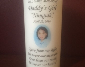 "Personalized 6"" PHOTO CANDLE, Memorial Candle. Wedding Candle, Funeral Candle, Tribute Candle, Unity, Pillar"