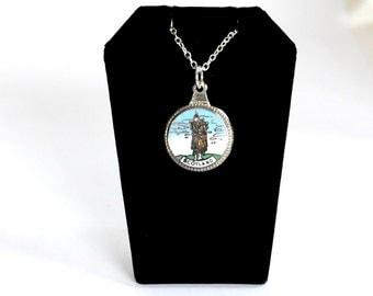 Scotland necklace, piper necklace, bagpiper necklace, vintage necklace
