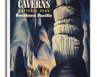 Carlsbad Caverns Art Vintage National Park Poster Print Canvas Hanging Wall Decor xr885