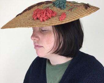 circa 1950 Woven Straw Sun Hat