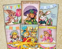 80 % off SaLe Vintage Easter Party Tags Jewelry Holders Digital Collage Sheet 2.5 x 3.5 Gift Tags Labels Ephemera Scrapbooking Supplies Chil