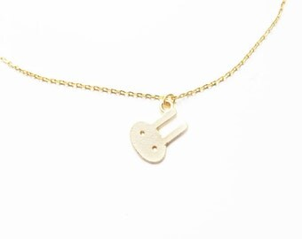 Gold bunny necklace/bunny charm necklace