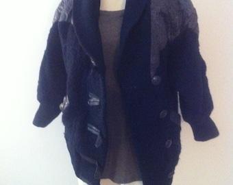 wool coat navy blue xsmall/small  3/4 sleeve