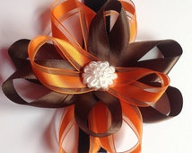 Brown and Orange  Collar Bow for Girl Dog or Cat
