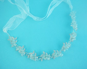 Ribbon Headband Crystal, Wedding Ribbon Headband Bridal, wedding headpiece, rhinestone tiara, rhinestone, bridal accessories 250966498