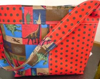 Red Dinasour Bucket-Style Purse Diaper Bag