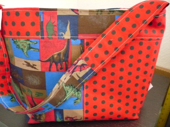 Red Dinosaur Bucket-Style Purse Diaper Bag