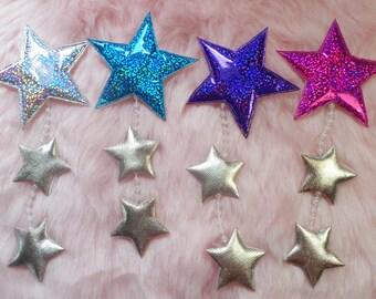 Sparkle HOLO galaxy falling STARS dangler HAIR clip