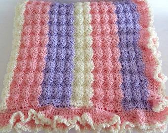 Crochet Baby Girl Blanket in Pink Lavender White Made to Order