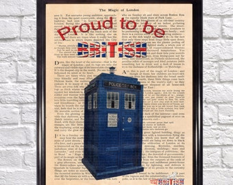 Old fashioned British Police Box on vintage book page, Doctor Who Tardis. Proud to be British 4, art print, Upcycled book page, wall decor