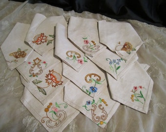 Vintage Linen Embroidered Napkins set of 12