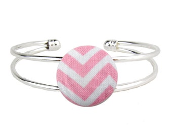 Silver Cuff Bracelet PInk Chevron Adjustable