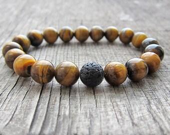 Yellow tiger eye bracelet Mens stone bracelet Stone beaded bracelet Jewelry for men Gifts for husband Gifts for guys 21st birthday gifts