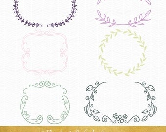 Laurel Style Border Clipart - INSTANT DOWNLOAD - .PNG Files