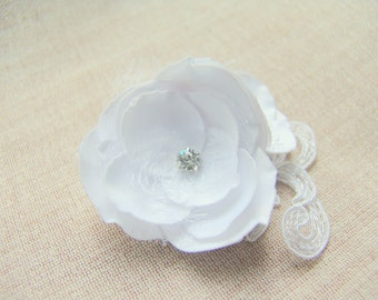 Bride Hairpiece White Wedding Hair Flower Wedding hair accessories Bridal hair clip