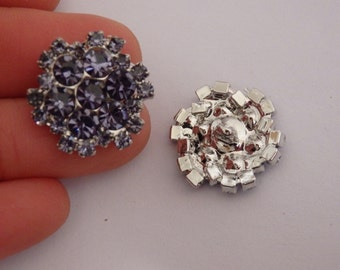 2 crystal buttons rhinestone diamante wedding upholstery light purple