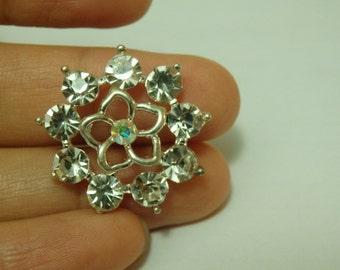 2 diamante buttons flower rhinestone crystal embellishment sewing 20mm-21