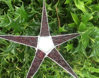 red/white 9-in Stained glass star