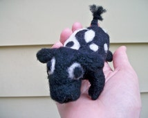 Needle Felted Cow, Soft Sculpture Animal
