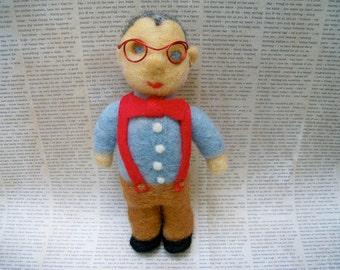 Handmade Wool Figure, Needle Felted Man, Needle Felted Boy