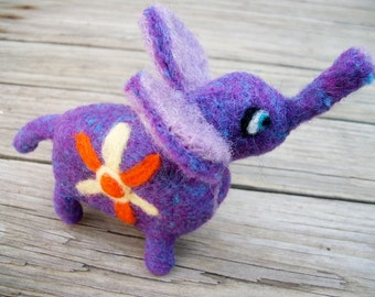 Needle Felted Elephant, FeltWithAHeart, Felted Wool Animal