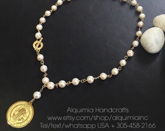 St Benedict necklace fresh water pearls