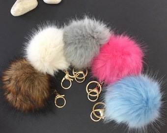 Pompom keychains rabbit fur