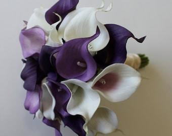 Purple Wedding Bouquet Purple Calla Lily Bouquet Purple Bouquet  Real Touch Purple Calla Lily Bridal Bouquet Wedding  Bouquets,  Weddings