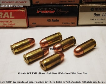 45 Auto ACP Brass FMJ Bullets – CBW Safe Snap ™  Snap Caps – Non Filled Lots of 6 to 24 - Tactical Training Gear