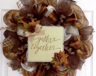 Gather Together Inspirational Thanksgiving Harvest Wreath Deco Mesh 20 Inch