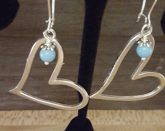 Beautiful Heart Silver Dangle Earrings with Turquoise Wire Wrapped Charms