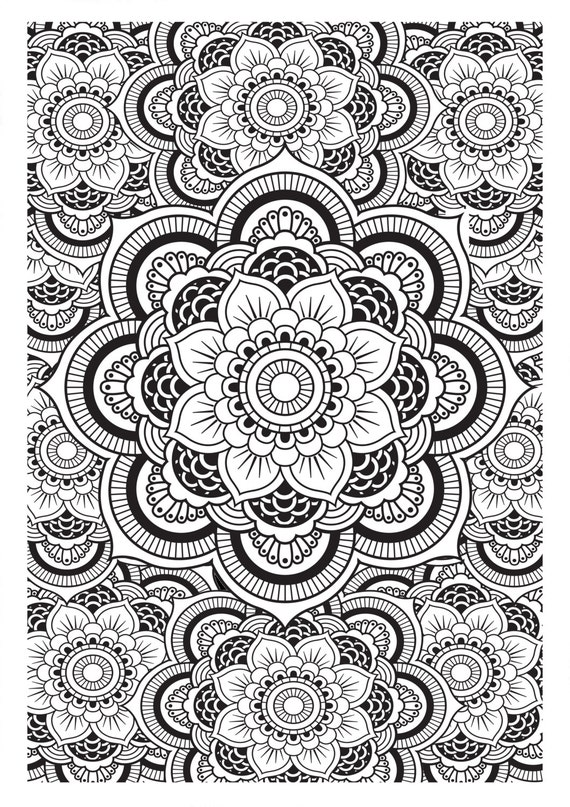 Mandala Pattern DIY Print At Home Digital Download Colouring
