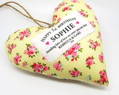 Personalised 1st Birthday Keepsake Gift / 1st Birthday Present. Nursery Decor. Fabric heart made in your choice of fabric