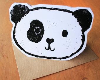 Panda face Linocut card
