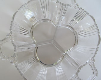 Candy Glass Dish - Divided  Snack Bowl - clear Glass  counter  // Bar // Peanuts  // Holder