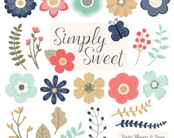 Cute Flowers Clipart in Modern Chic - Modern Chic Vector Flowers, Modern Clipart Flowers, Floral Clipart, Flower Graphics, Simple Flowers