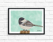 Cute black capped Chickadee bird watercolor ilustrated 5x7 wall art print