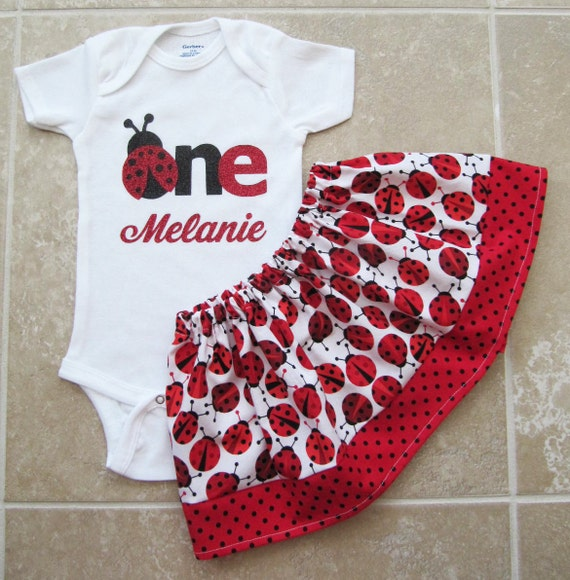 Ladybug First Birthday Outfit Onesie And Skirt By